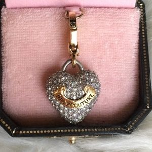 NWOT Juicy Couture Pave Puffy Banner Heart Charm